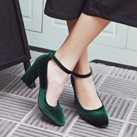 Buy JY Shoes Velvet Block Heel Pumps | YesStyle
