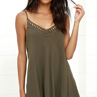Lady Daydream Olive Green Crochet Dress