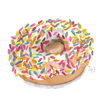 Donut Watercolor Original Painting - Food Art, Kitchen Art, Sprinkle Donut, 7x5