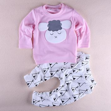 Baby Girl clothes New Autumn Cotton Long sleeves 2pcs suit Cartoon Tops+Pants Little Sheep printed Cute Baby Girls clothing set