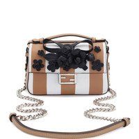 Fendi Double Micro Baguette Shoulder Bag, White/Black
