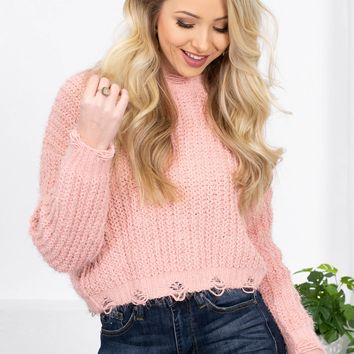 Peachy Love Chenille Distressed Knit Sweater