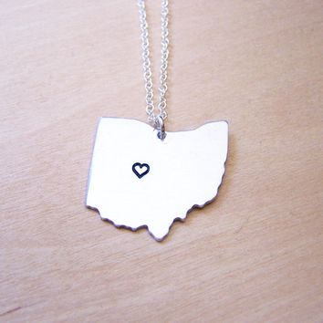 Hand Stamped Heart Ohio State Sterling Silver Necklace / Gift for Her