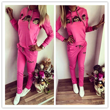 Pink Hooded Sweatshirt with Drawstring Pants