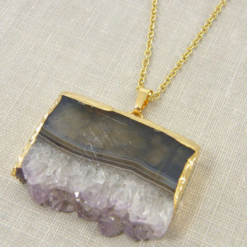 Amethyst Slice Necklace, Geode Pendant Necklace, Raw Amethyst Necklace, Purple Lavender Layered Semiprecious Gemstone Jewelry
