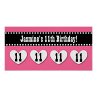 11th Birthday Pink Black Hearts Banner Custom V11H Print