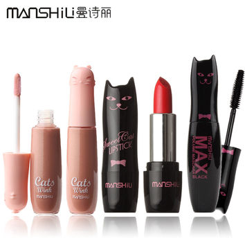 NEW! 1Set=3Pcs 3 Styles MANSHILI Cat Series Makeup Set Lipstick and Lip Gloss and Mascara #MAO001