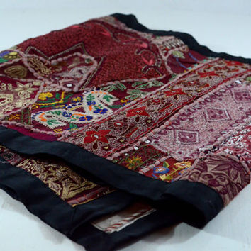 SALE - One of a kind, Hand Stitched Indian fabric Table Runner, Maroon and Shades of Red and Gold Wall Hanging