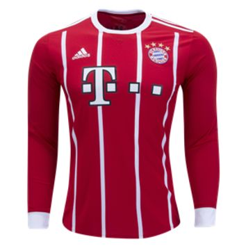KUYOU Bayern Munchen 2017/18 Home Men Long Sleeve Soccer Jersey Personalized Name and Number