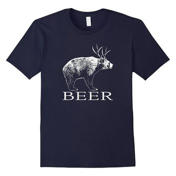 Beer T-Shirt Funny Bear Deer Beer Drinking Hunting Shirt