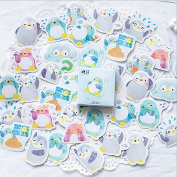 45pcs/box Kawaii Little Penguin Mini Paper Stickers Decoration diy Scrapbooking Sticker Stationery cute label sticker
