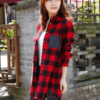 'The Kamilah' Plaid Patchwork Boyfriend Shirt