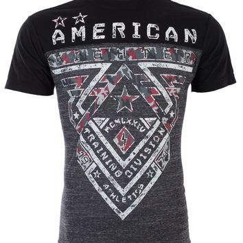Licensed Official AMERICAN FIGHTER Mens T-Shirt CROSSROADS CAMO Biker GREY BLACK Gym MMA UFC $40