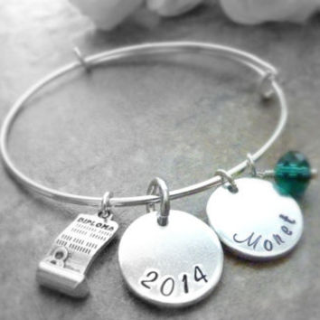 Graduation bracelet Personalized Graduation Bracelet Expandable Hand stamped Jewelry Alex & Ani style