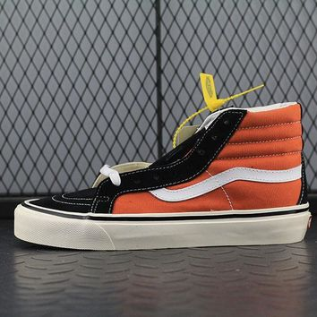 Vans SK8 Hi 38 DX Fashion Canvas Flats Sneakers Sport Shoes Orange