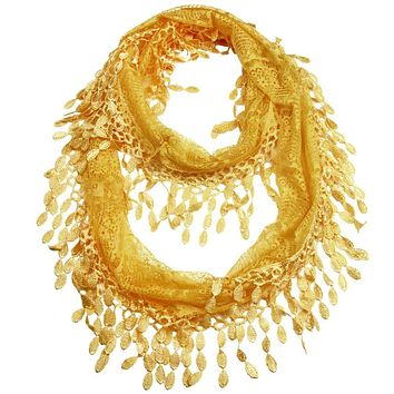 Gold Yellow Lace Infinity Scarf