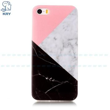 Ultra-thin Simple Silicone Pink/Grey/Black Marble iPhone Case