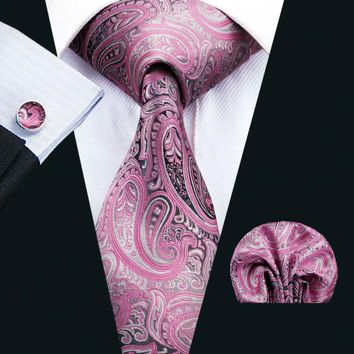 LS-1571 Barry.Wang Classic Men`s Tie 100% Silk Pink Paisley Necktie Hanky Cufflink Set For Men`s Wedding Party Business