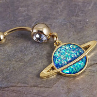 14kt Gold Opal Belly Button Ring Saturn
