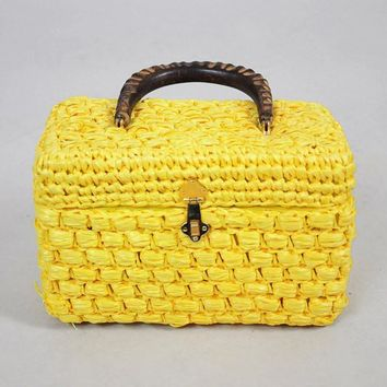 60's Raffia Box Purse