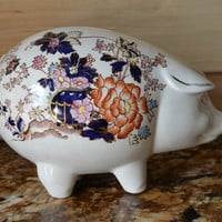 Vintage Figural Masons Mandalay Chinoiserie Hand Painted Ironstone Transferware Pig Piggy Bank Hard to Find