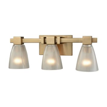 Ensley 3-Light Vanity Lamp in Satin Brass with Square-to-Round Frosted Glass