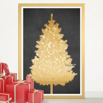 "Christmas tree alternative, gold glitter Christmas tree print, large printable poster, 20x30"" printable decor, diy christmas decor - cta006"