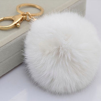 White Cute Genuine Rabbit or rex rabbit fur pom pom ball plush key chain for car key ring Bag Pendant