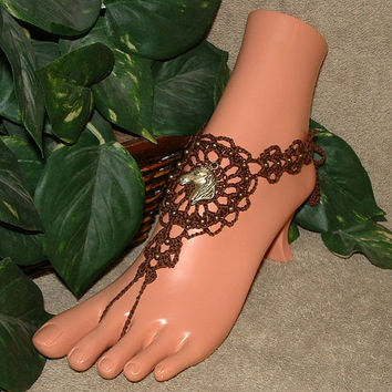 Crochet Horse Barefoot Sandals, Jewelry, Beach Sandals, in Brown, Black, Natural or Linen Khaki, Shoes, Foot, Feet, Anklets, Yoga, Dancing