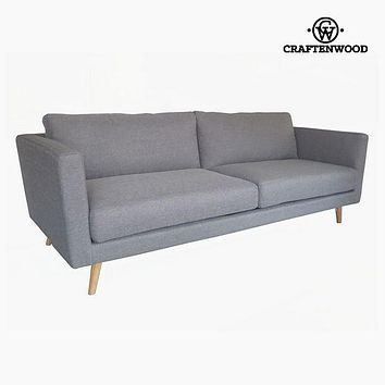 3-Seater Sofa Pine Velvet Grey (211 x 88 x 83 cm) by Craftenwood