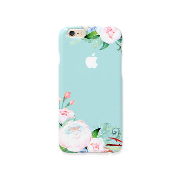 iPhone case - Mint Ranunculus (hard shell) - iPhone 6 case, iPhone 6s case, iPhone 6 Plus case, Good Luck Gold Sticker, non-glossy C20