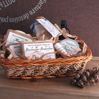Deluxe Gift Basket, Complete set with soap, lip balm, facial serum, herbal skin balm