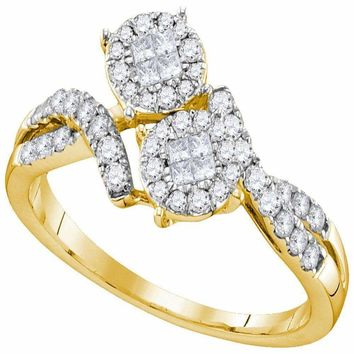 14kt Yellow Gold Women's Princess Round Diamond Soleil Cluster Bypass Bridal Wedding Engagement Ring 1/2 Cttw - FREE Shipping (US/CAN)