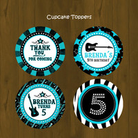 Turquoise Rock Star Cupcake Toppers - Turquoise Rock Star Printable Cupcake Toppers and Wrappers for birthday or baby shower - DIGITAL FILE