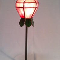 Rose Stained Glass Lamp, Tiffany technique, Table lamp
