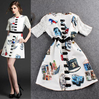 Sheer Mesh Sleeve Women Accessories Digital Print A-Line Mini Dress