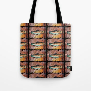 Vintage Red Trout Fresco by - OLena Art Tote Bag by Lena Owens/OLenaArt