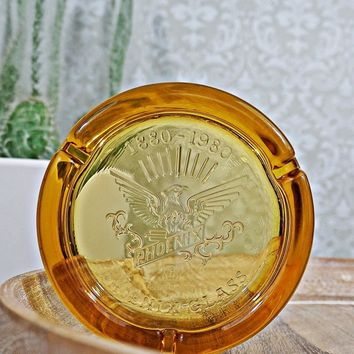 Vintage 1960s Phoenix Glass + Amber Ashtray