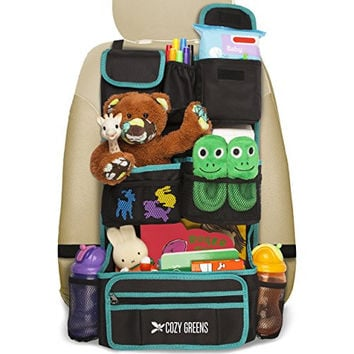 Cozy Greens® Backseat Car Organizer | Must Have For Baby Travel Accessories And Kids Toy Storage | + FREE GIFT Traveling With Kids eBook | Eco Friendly Material | Lifetime 100% Satisfaction Guarantee