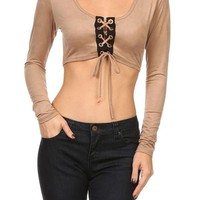 Solid Long Sleeve Scoop Neck Front Tie Sexy Cropped Suede Knit Top