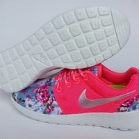 sale!! -20% only for this month custom nike free roshe pink run athletic women shoes with fabric flowers and crystal swarovski