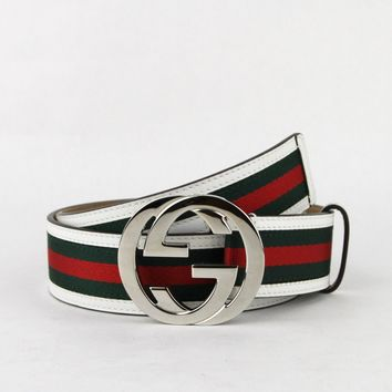 Gucci Mens GRG Web Belt w/white Leather Trim and Silver Buckle 85/34 114984 8624