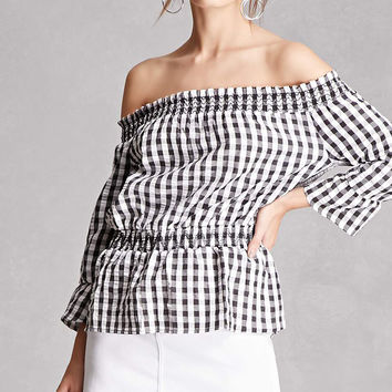 Checker Off-the-Shoulder Top