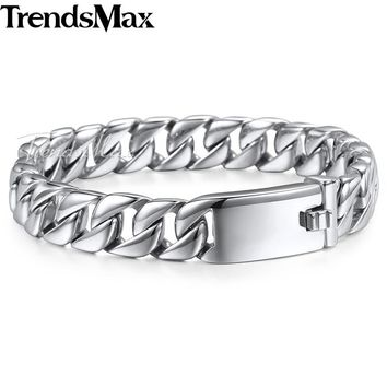Trendsmax Fashion New Link Chain Stainless Steel Bracelet Men Heavy 12MM Wide Mens Bracelets 2018 Bicycle Chain Wristband HB139