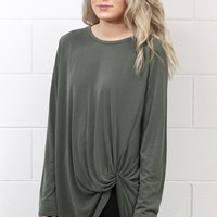 Long Sleeve Get Twisted Modal Top {Olive}