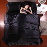 2015 Hot Silk Quilt Black Satin Sheets Bed Linen Cotton Solid Satin Duvet Cover Set King Size Bedsheet 4pcs of Bedding Sets