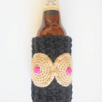 Crochet Boobies Beer Cozy in Black, Adult Novelty Gift, MADE TO ORDER.
