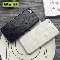 JiBan Retail Luxury Pu leather Pink Cute Mickey Mouse Cases For iPhone 6 6plus 6s plus 7 7plus White Black Cartoon  Covers