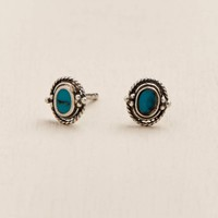 Turquoise Blue Sterling Silver Stud Earrings