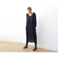 Black maxi Knitted dress, Leisure dress ,Maxi dress with long sleeves, Winter dress